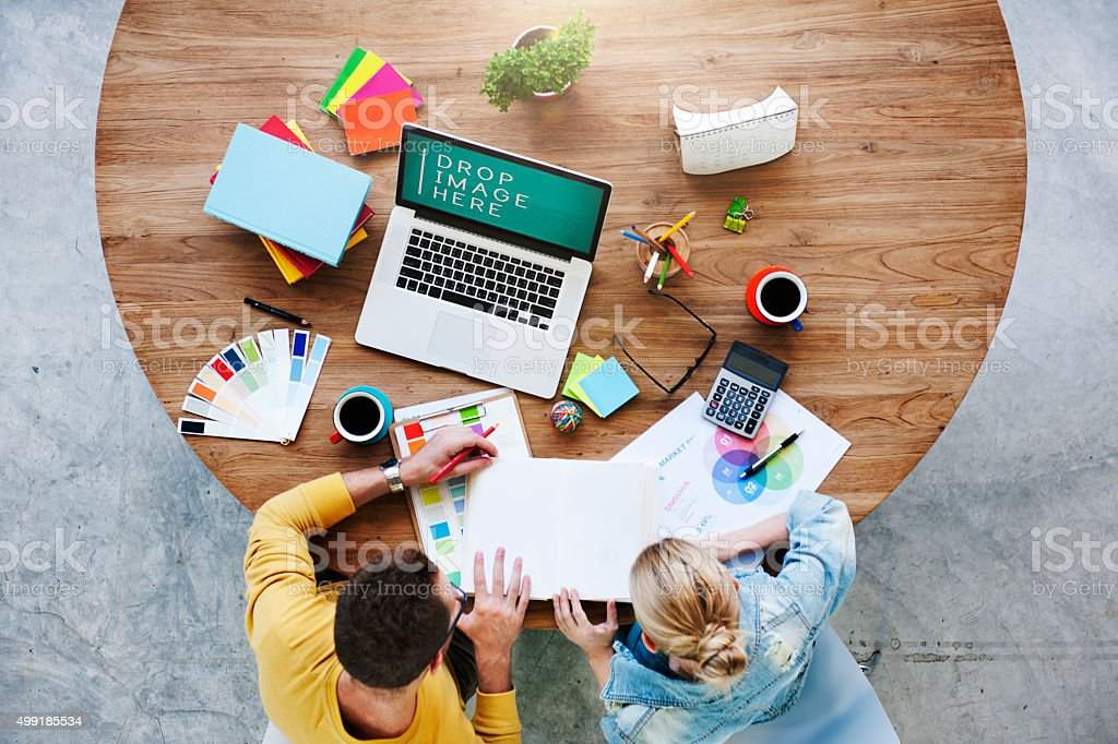 People Meeting Corporate Design Creativity Laptop Concept stock photo