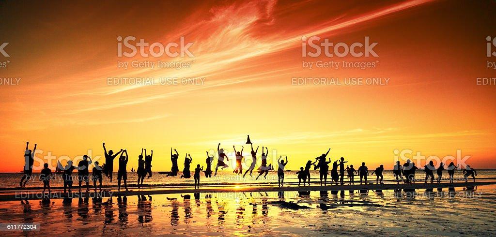 People meeting sunset. Sunset over Sibuyan sea stock photo