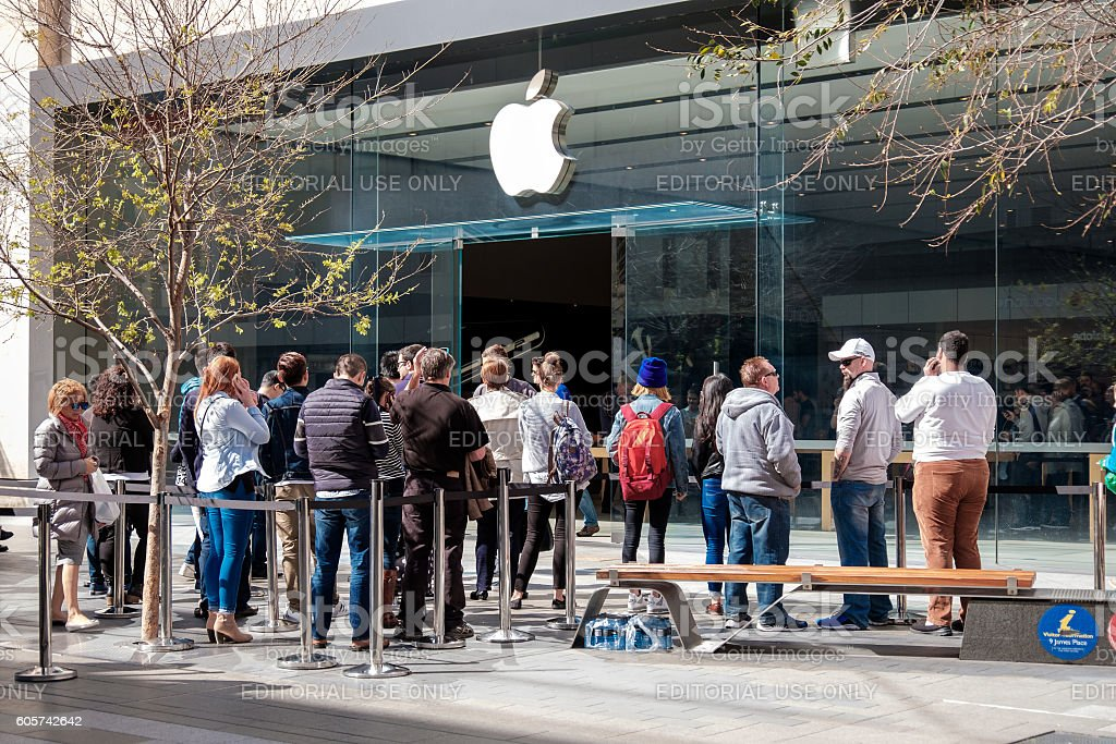 People near Apple Store in Adelade stock photo