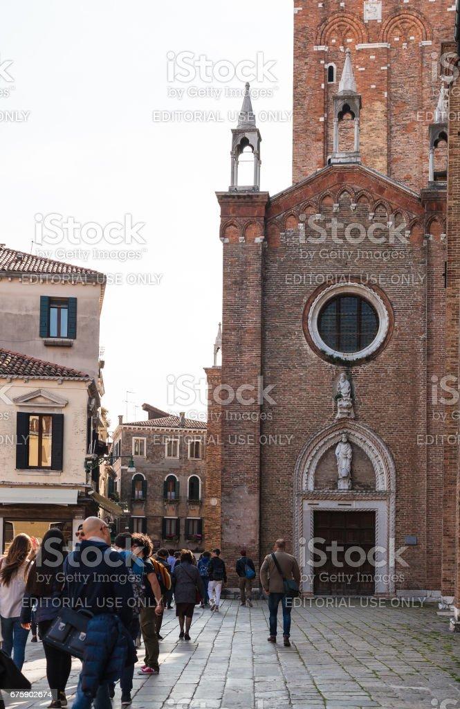 people near Basilica Frari in Venice city stock photo