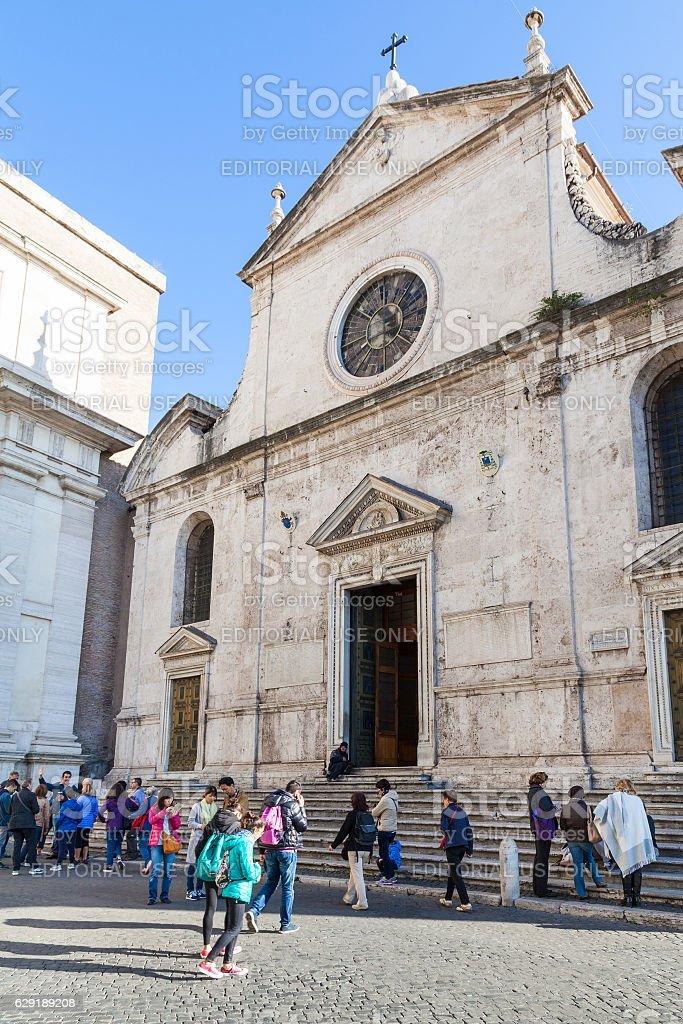 people near Basilica of Santa Maria del Popolo stock photo