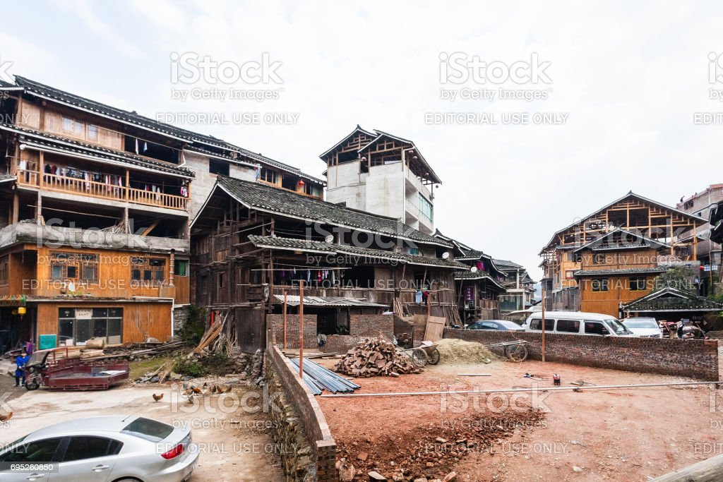 people near construction place in Chengyang stock photo