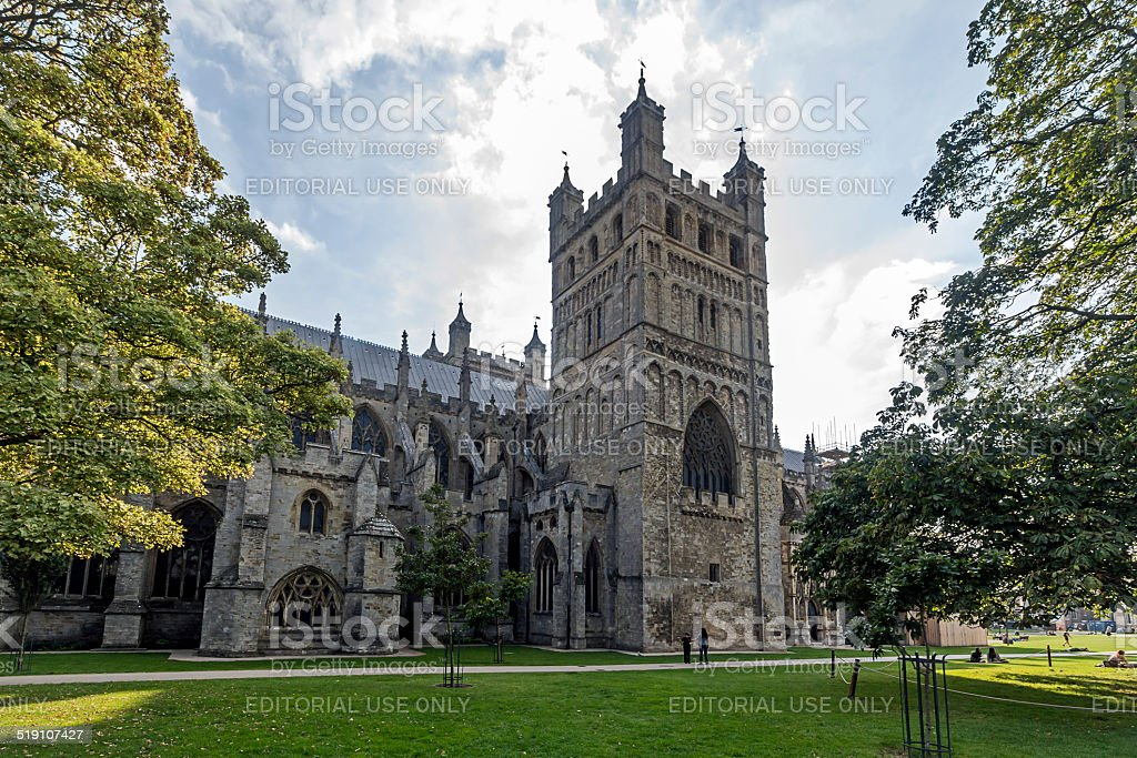 People Near Exeter Cathedral Devon stock photo
