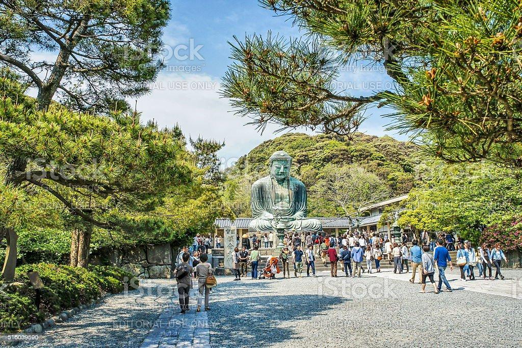 People near famous Great Buddha  statue stock photo