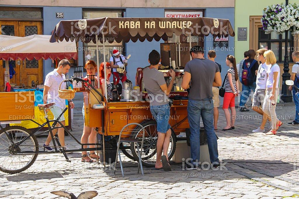 People near mobile coffee shop in Lviv, Ukraine stock photo