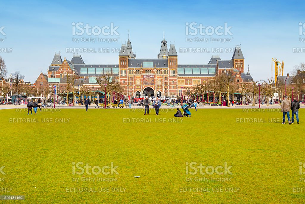 People near Museumplein, Rijksmuseum, Holland stock photo