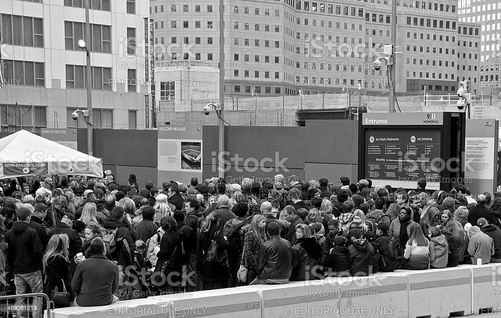 People near September 11th Memorial Entrance, Ground Zero, NYC royalty-free stock photo