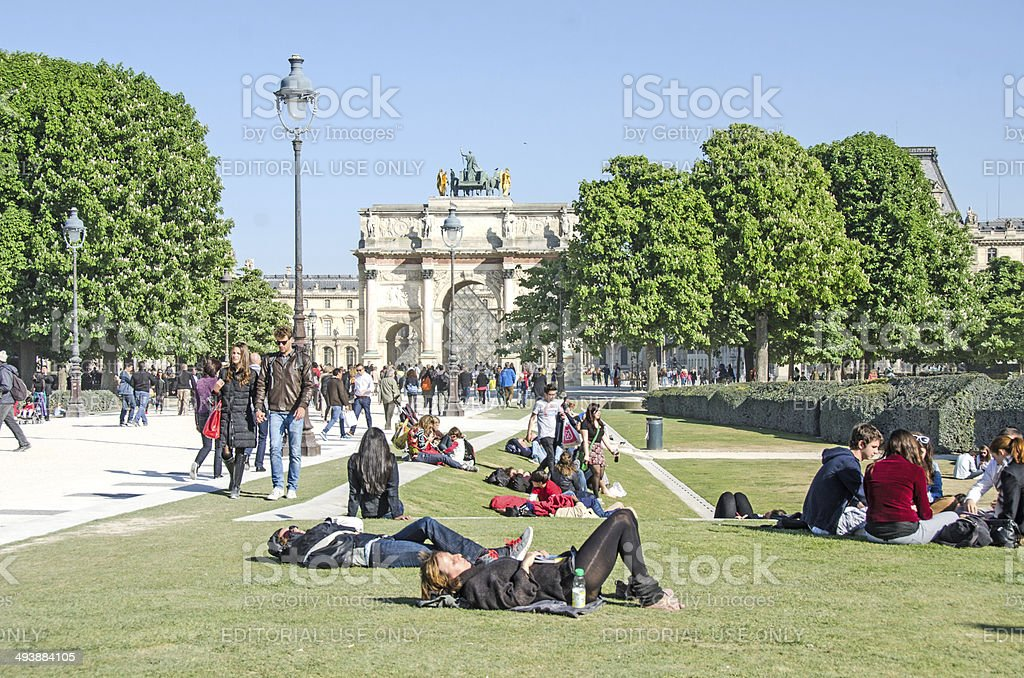 People Near The Louvre in Paris stock photo