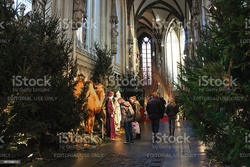 People near the nativity scenes in the cathedral stock photo
