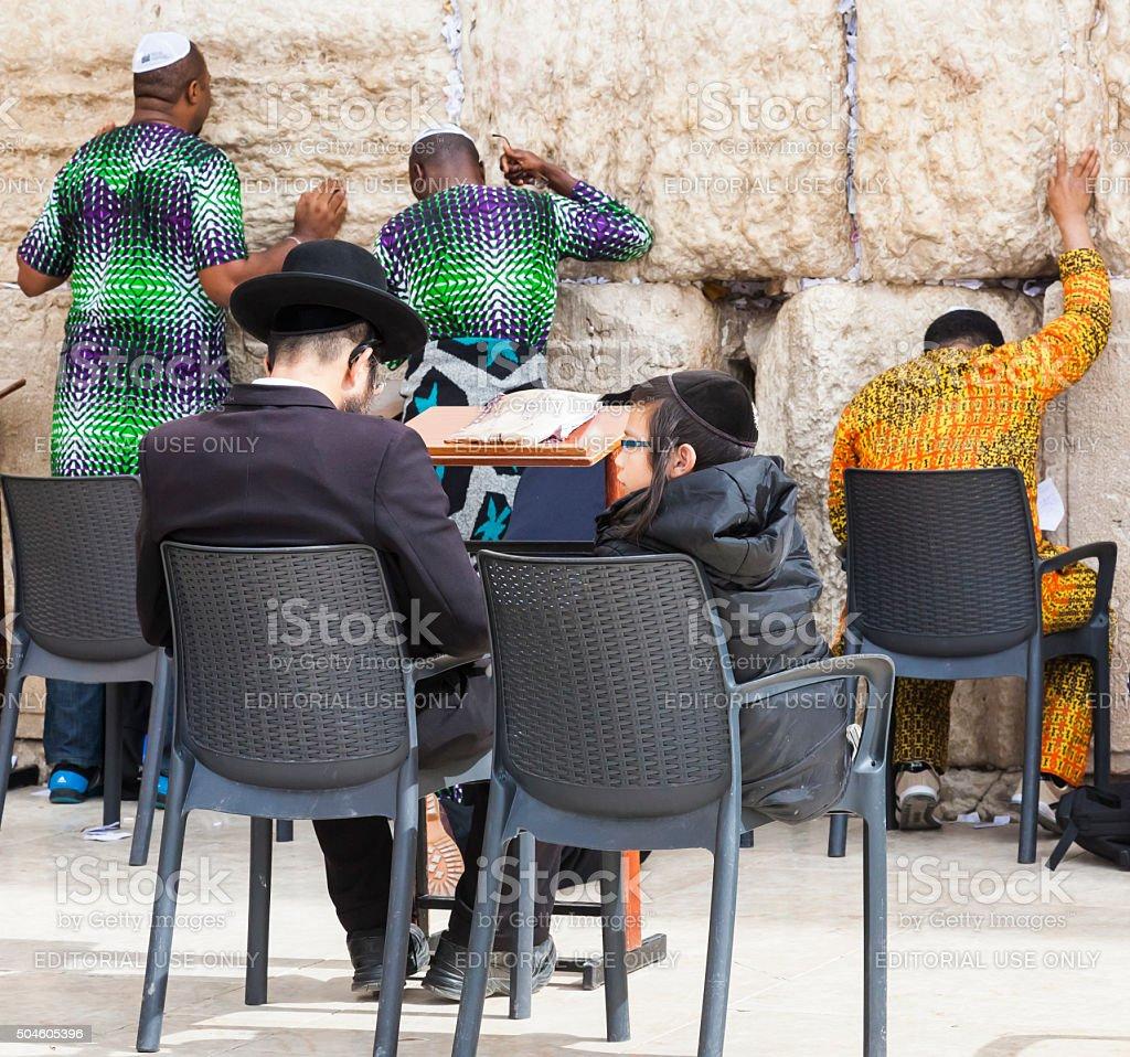 People near Western Wall. Jerusalem, Israel. stock photo