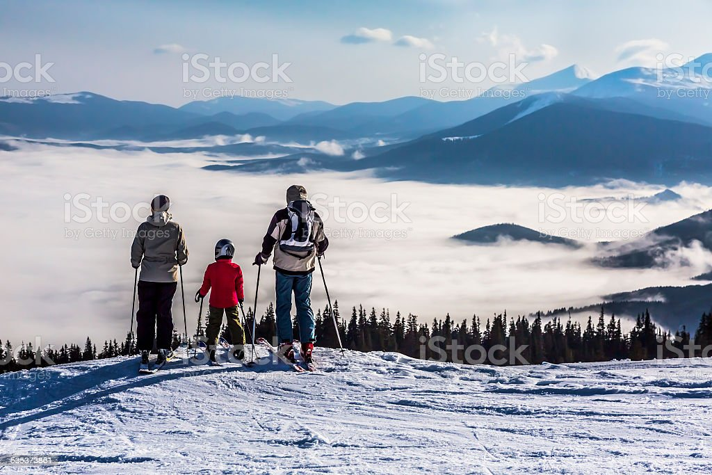People observing mountain scenery. stock photo