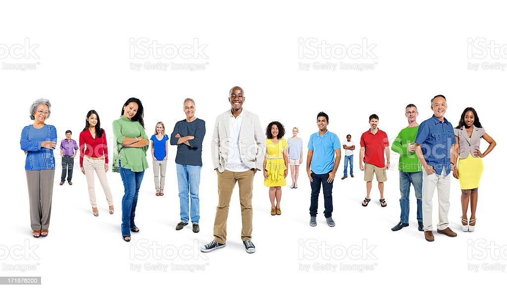 People of assorted ethnicities dressed in colorful clothing royalty-free stock photo
