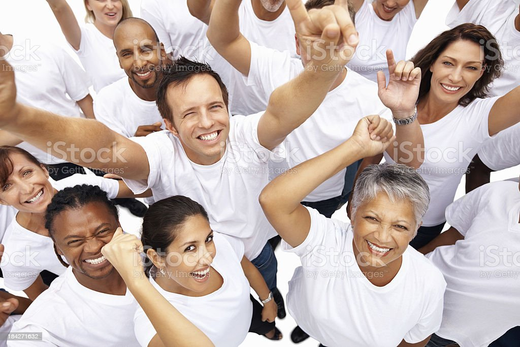 People of different generations and races cheering royalty-free stock photo