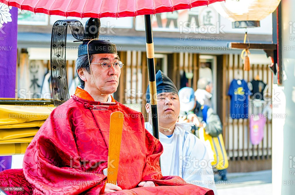 People of Mikashi Procession in Takayama Festival royalty-free stock photo