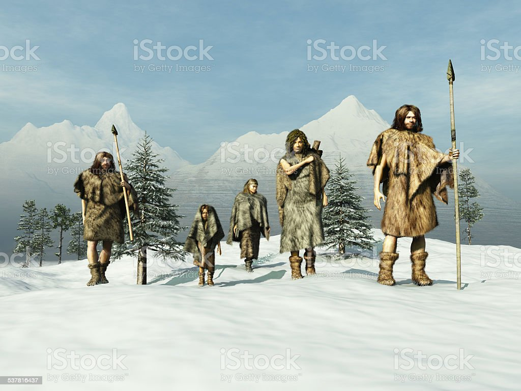 People of the Ice Age stock photo
