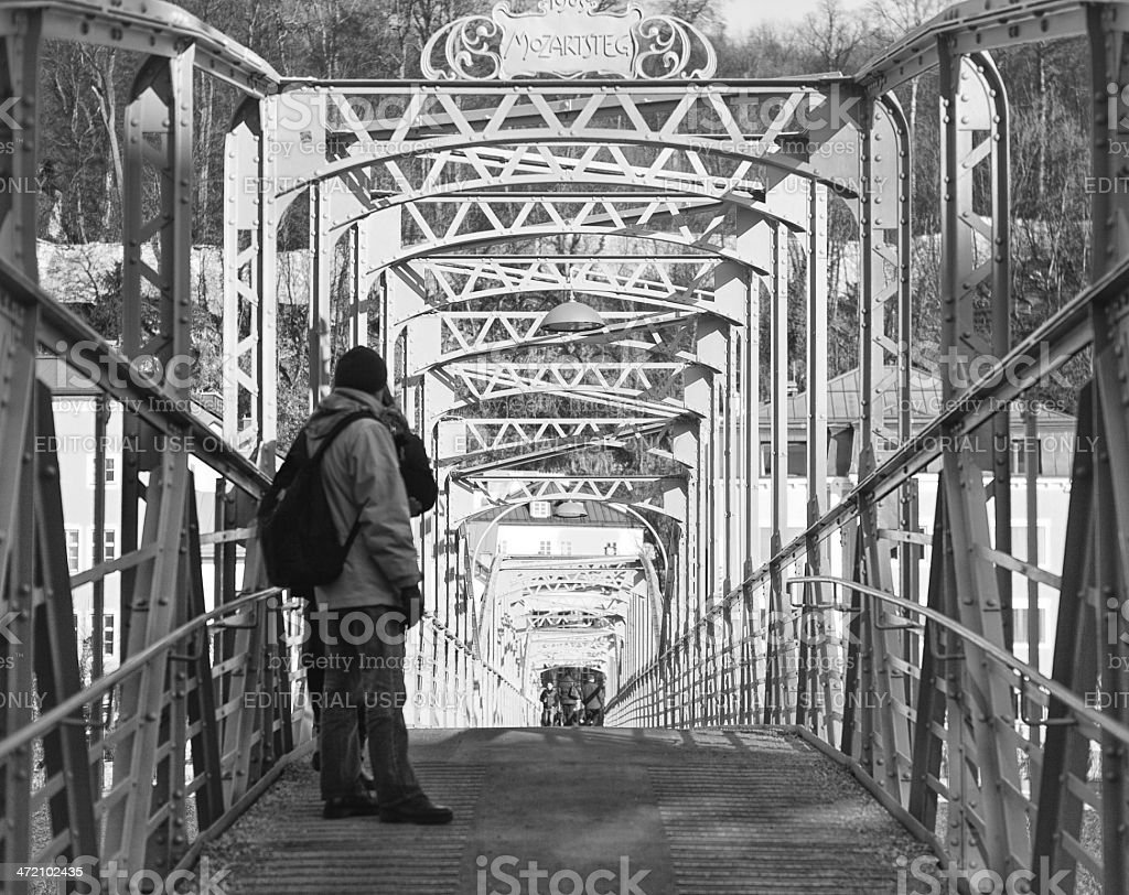 People on a Bridge in Salzburg stock photo