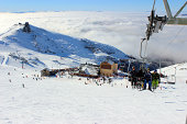 People on a chair lift -ski station at CERRO CATEDRAL