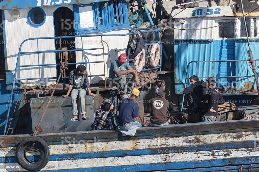 People on a fishing boat royalty-free stock photo