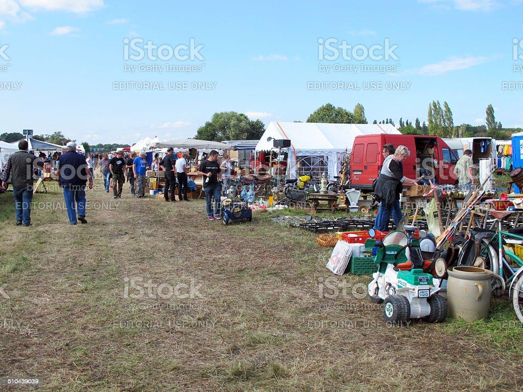 People on a flea market stock photo