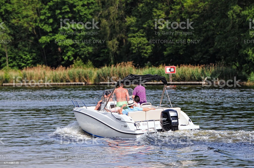 people on a motorboat at Wannsee (Berlin - Germany) royalty-free stock photo