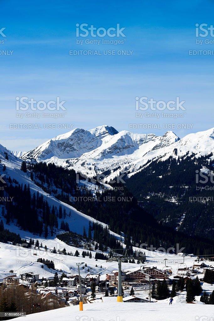 people on a ski slope at Berwang stock photo