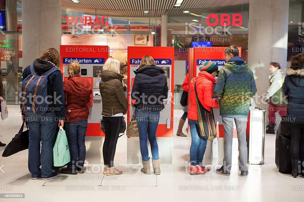 People on a Ticket machine stock photo