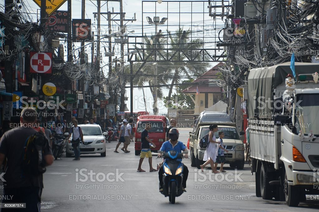 People on Bangla road, Patong Beach, Thailand stock photo