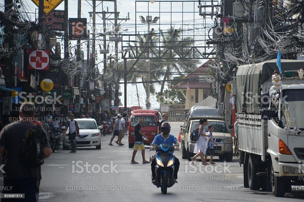 People on Bangla road, Patong Beach, Thailand stock photo