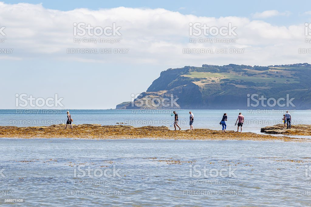 people on beach, fishing and crabbing stock photo