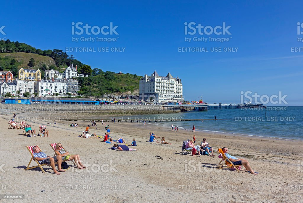 People On Beach Llandudno stock photo