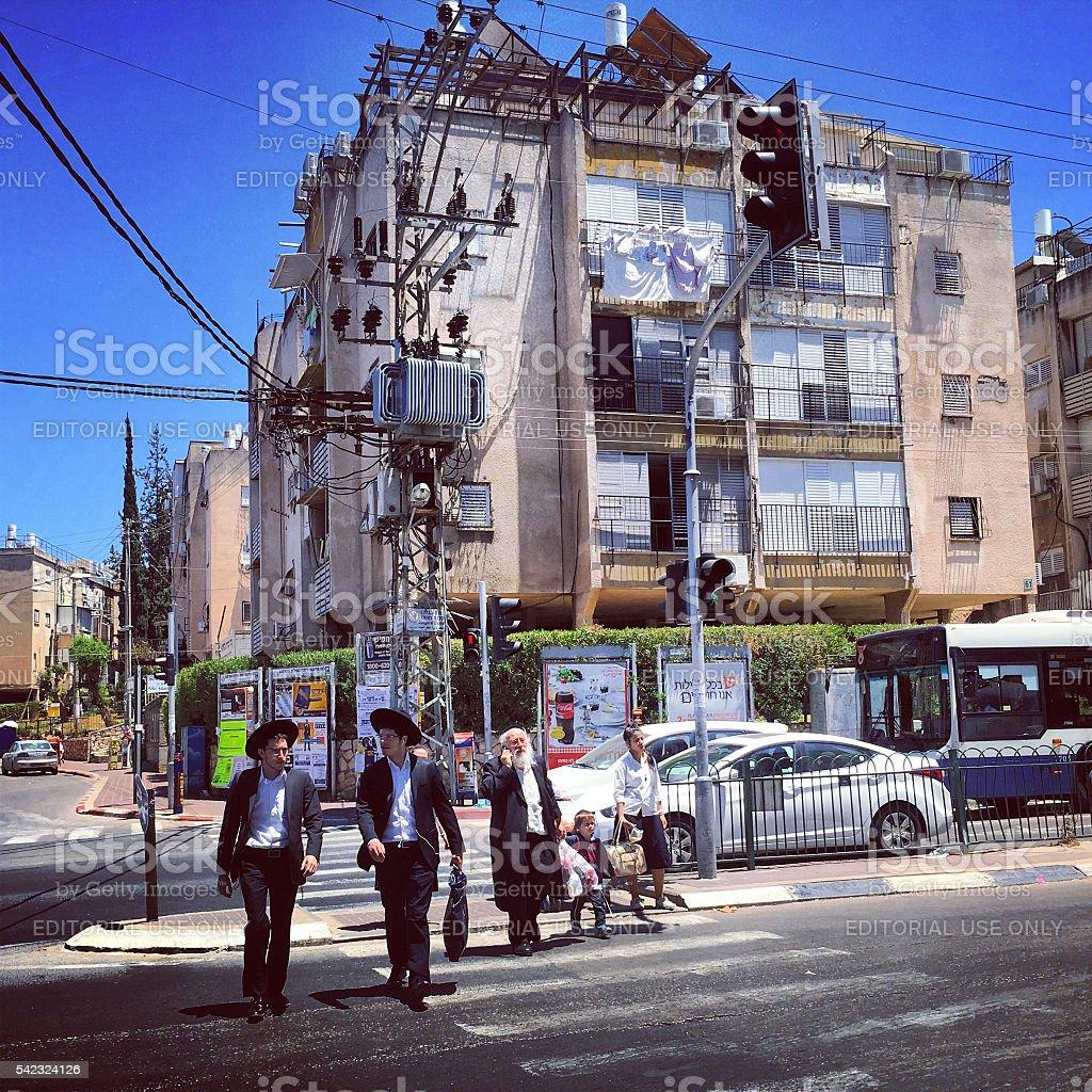 People on Bnei Brak streets, Israel stock photo