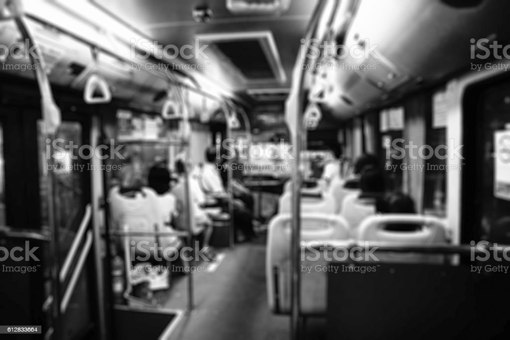 People on Bus ,Intentionally blurred editing post production stock photo