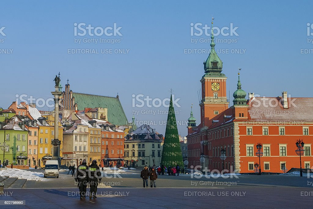 People on Castle Square in medieval Warsaw old town stock photo