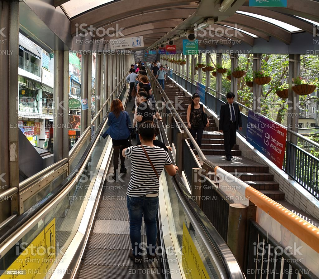 People on Central–Mid-Levels escalator of Hong Kong stock photo