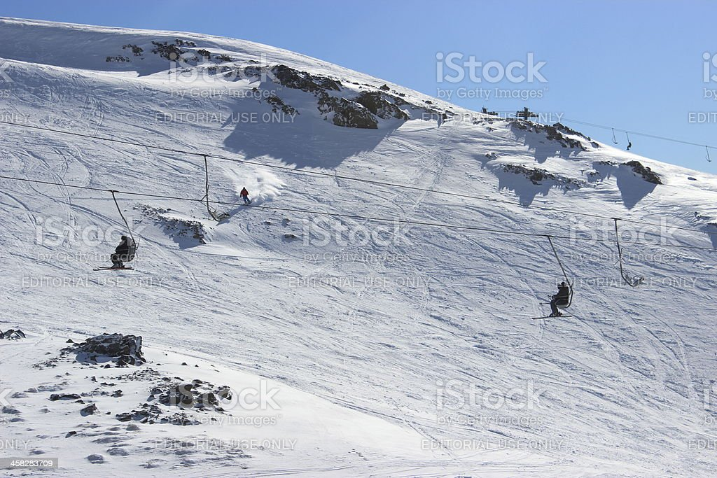 People on chair lift -ski station CERRO CATEDRAL (horizontal composition) stock photo