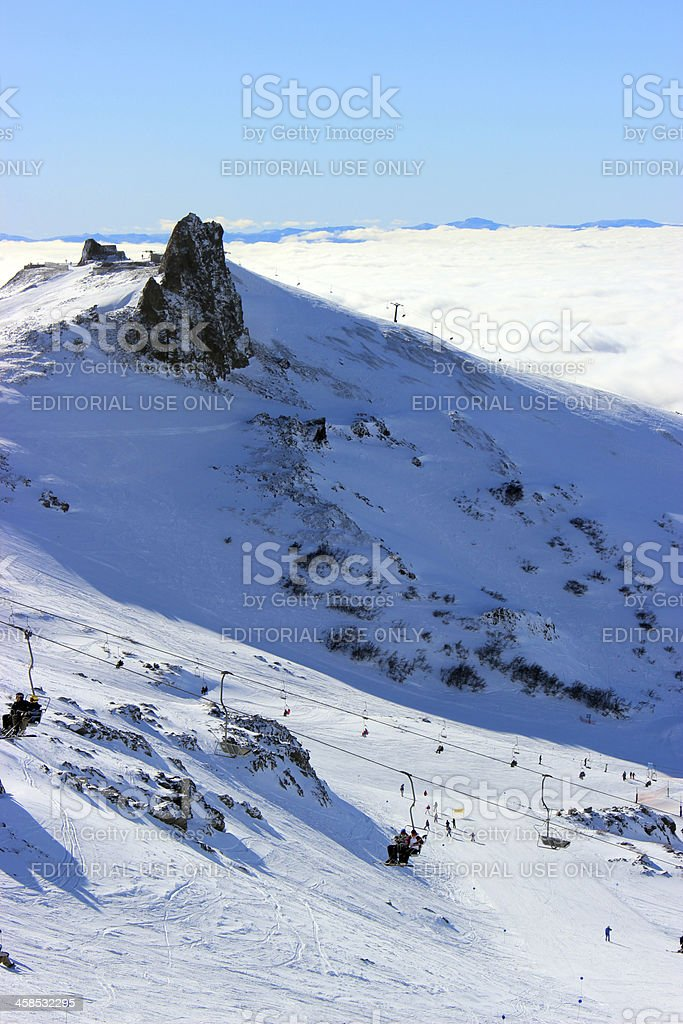 People on chair lift -ski station CERRO CATEDRAL (vertical composition) stock photo