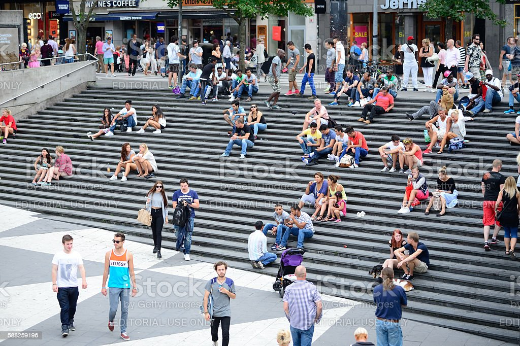 People on city square Sergels Torg, Stockholm stock photo