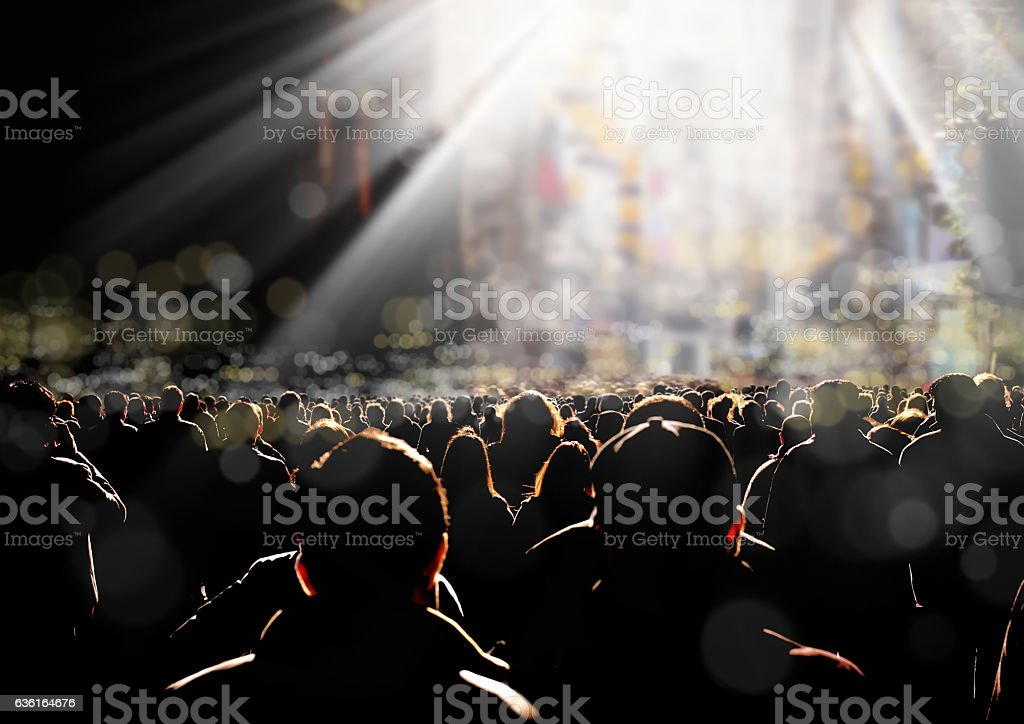 people on city street stock photo