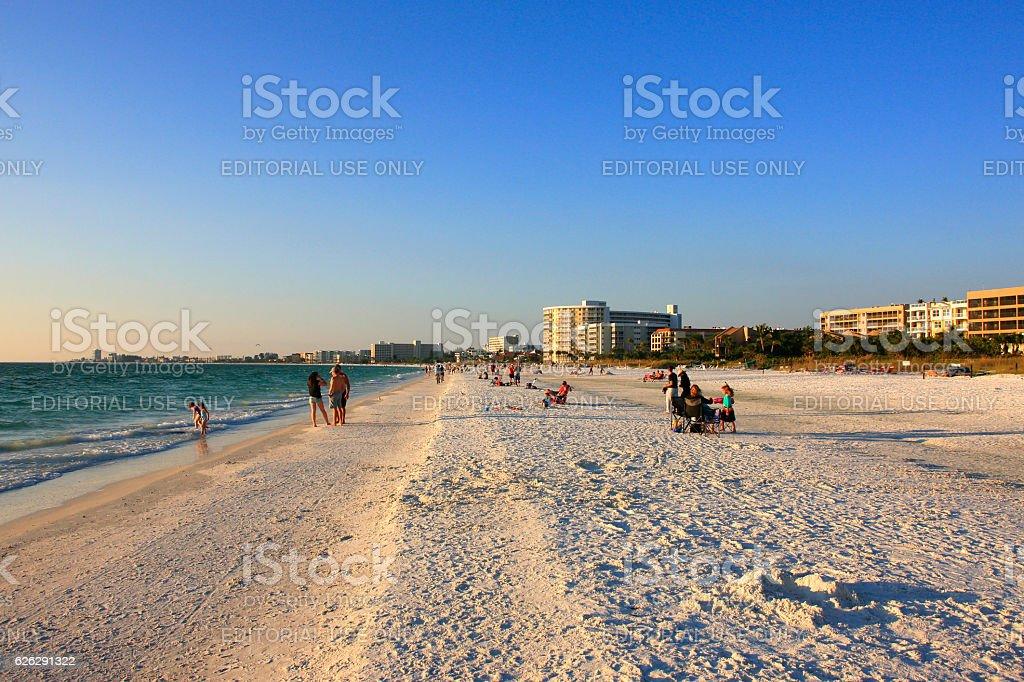 People on Crescent beach at Siesta Key, Sarasota, FL stock photo