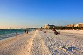 People on Crescent beach at Siesta Key, Sarasota, FL