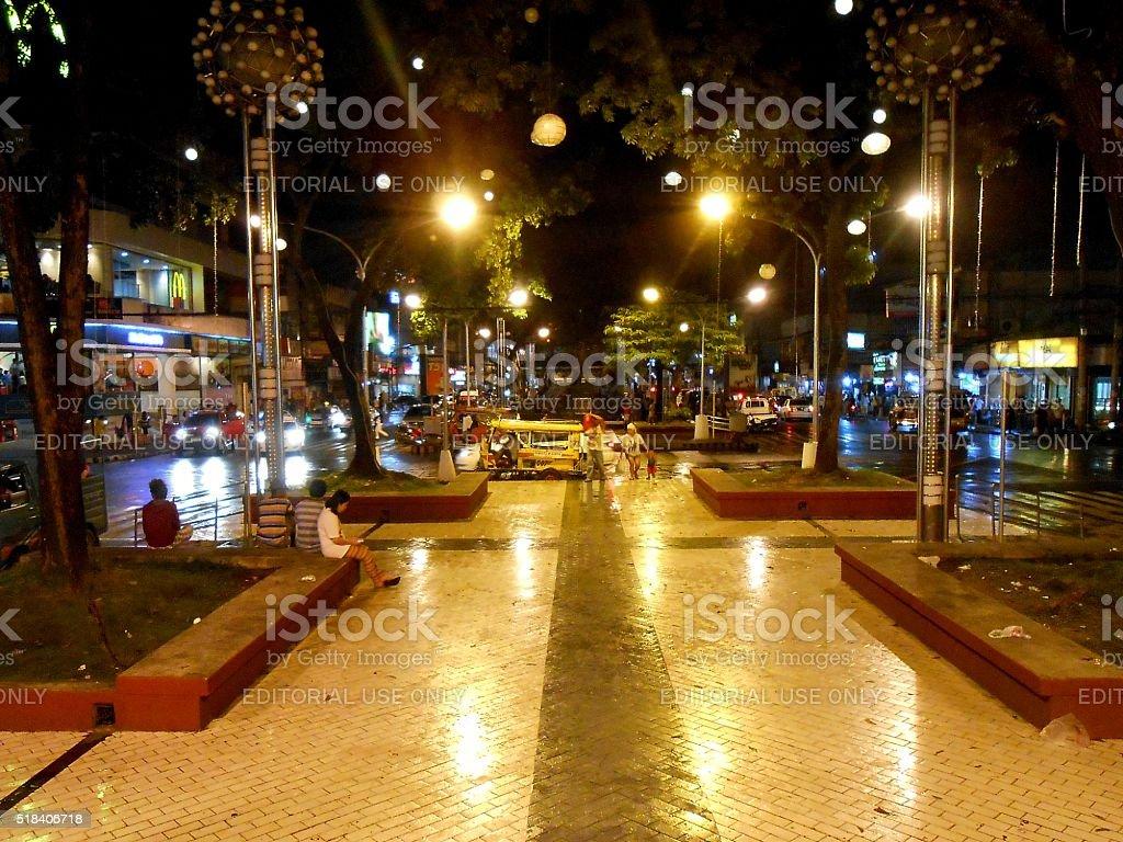 People on Divisoria Park promenade, Cagayan De Oro city, Philippines stock photo