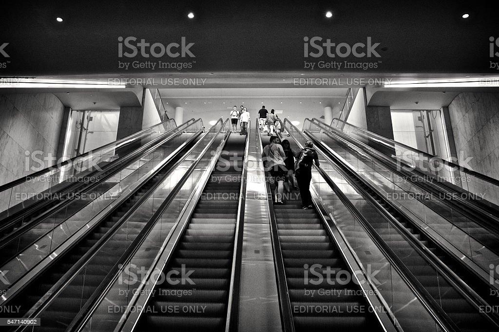 People on Escalator, Transportation Hub, Lower Manhattan, New York City stock photo