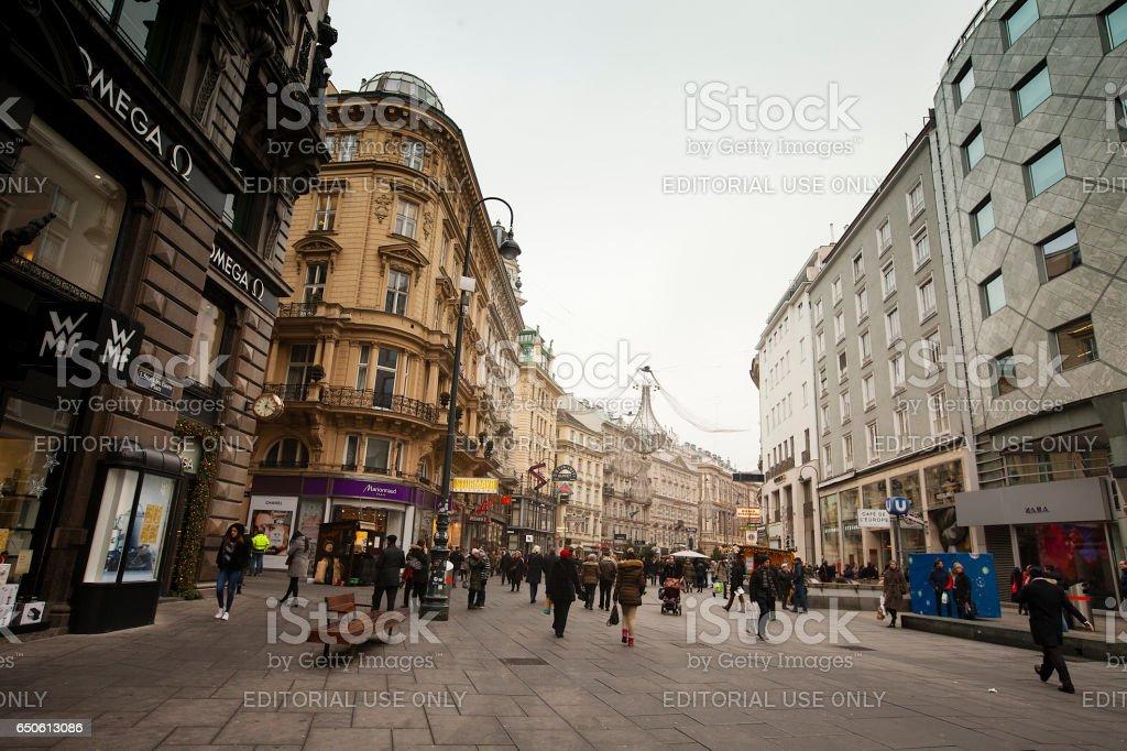 People on Graben Street in winter, Vienna,  Austria stock photo