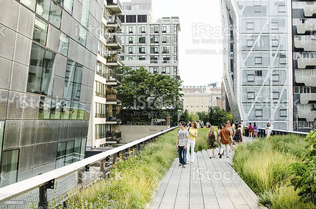 People on High Line Park, New York City stock photo