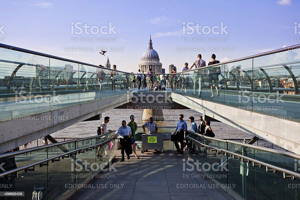 People on London Millenium Bridge royalty-free stock photo