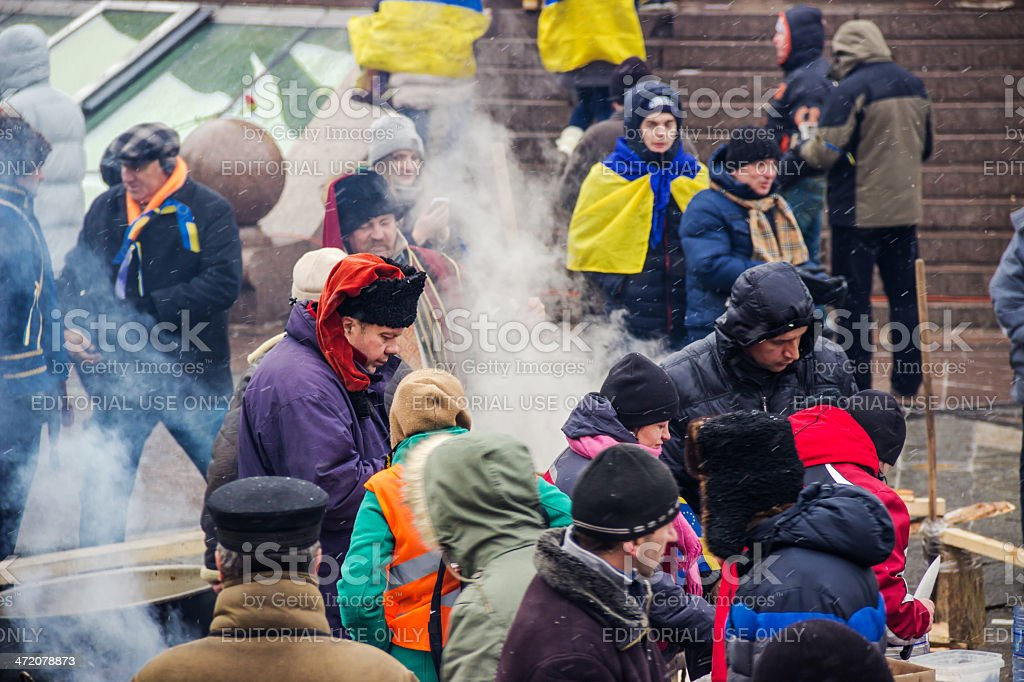 People on Maidan in Kiev stock photo