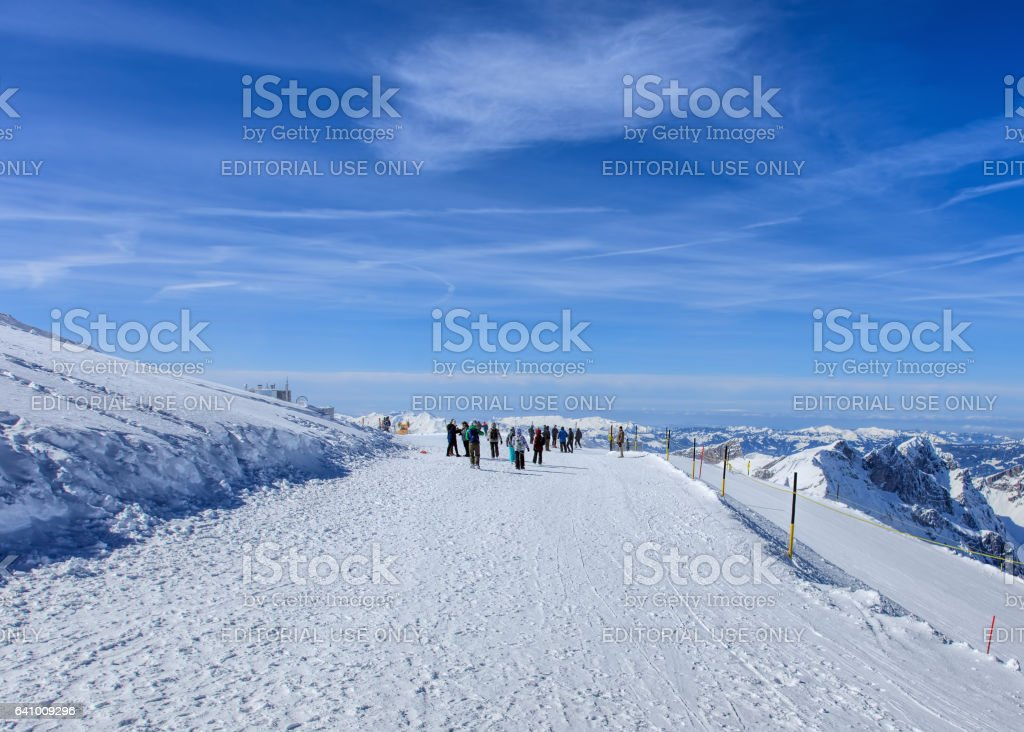 People on Mt. Titlis in Switzerland stock photo
