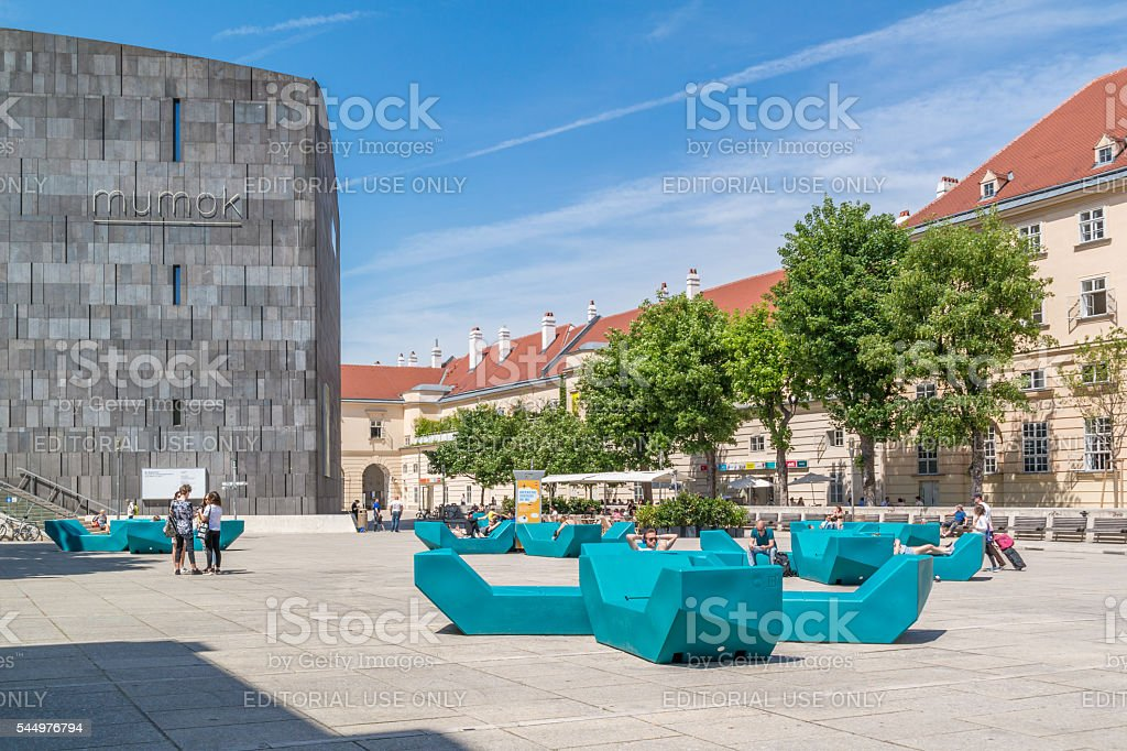 People on Museums Quartier square in Vienna, Austria stock photo