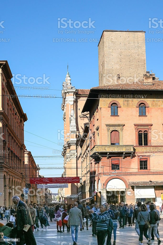 people on Piazza Maggiore square in Bologna city stock photo