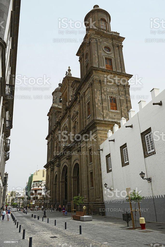 people on plaza Santa Ana Las Palmas de Gran Canaria royalty-free stock photo